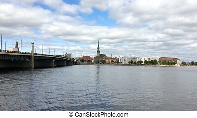 View through the Daugava River of the Riga railway bridge and the Building of Academy of Sciences of Latvia, Riga Latvia