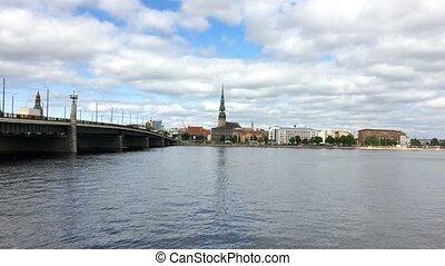 View through the Daugava River of the Riga railway bridge...