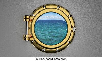 View through the ship porthole 3D animation - Porthole 3D...
