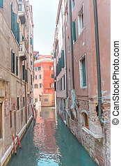 View through the small water canal in Venice town