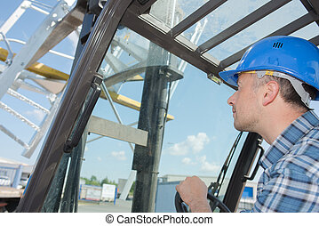 View through windscreen of forklift