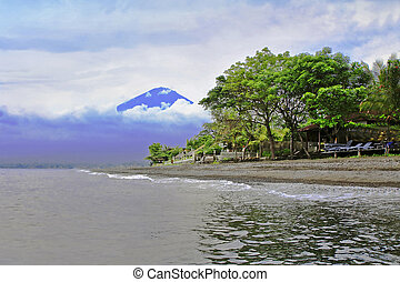 Agung volcano - View to Agung volcano from Amed, Bali