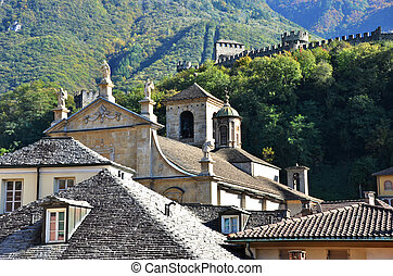 View to an old church in Bellinzona, Southern Switzerland