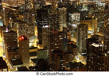 View to Downtown Chicago / USA from high above at night