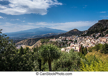 View to Etna over Taormina in Sizily