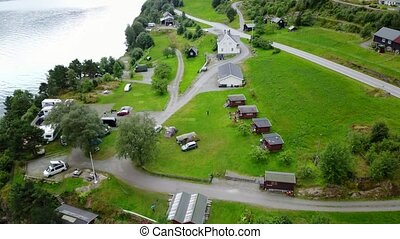 View to Fjord and water from drone on air Norway - The view...
