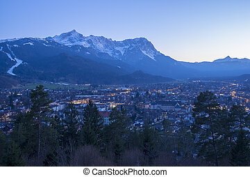 View to Garmisch-Partenkirchen at evening
