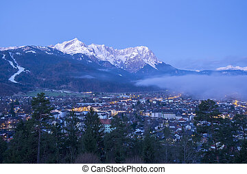 View to Garmisch-Partenkirchen in the morning