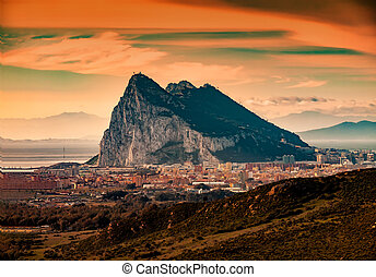 View to Gibraltar from the mountains