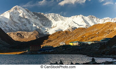 View to Gokyo, lake Dudh Pokhari, peak Gokyo Ri, mount Cho...
