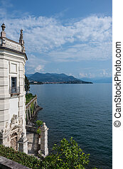 View to Lake Maggiore from park on the island of Isola Bella.  Northern Italy