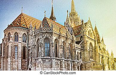 View to Matthias Church in the Castle District. Matthias...