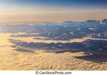 view to mountains of the alps