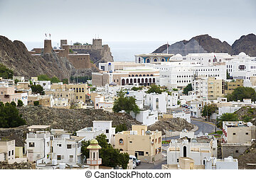 View to Muscat in Oman on a cloudy day