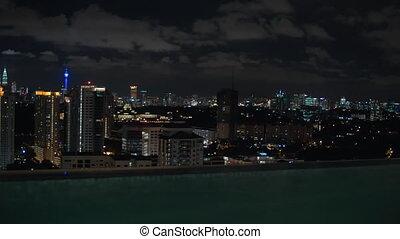 View to night Kuala Lumpur from rooftop pool, Malaysia