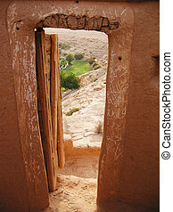 View to oasis from the Diriyah fortress in Er Riyadh, Saudi...