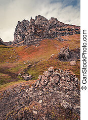View to Old Man of Storr in Scotland, United Kingdom