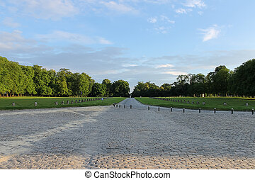 View to park of famous Chateau de Chantilly (Chantilly Castle). France.