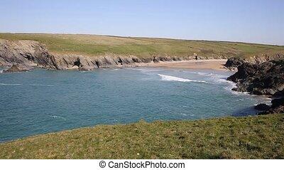 View to Porth Joke beach Cornwall - Porth Joke beach next to...