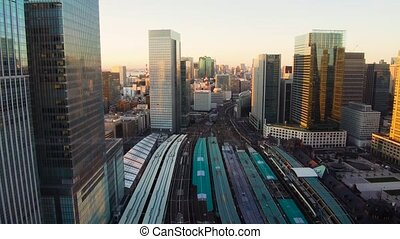 view to railway station in tokyo city in japan