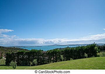 View to Rangitoto Island from Waiheke Island.