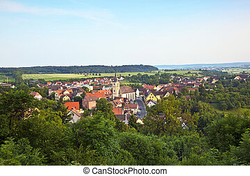 """view to romantic village of Shillingsfuerst on """"romantic street"""" in Bavaria"""