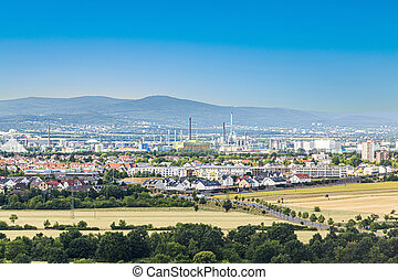 view to rural landscape with Industry in the Taunus Region in Frankfurt, Germany