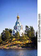 Valaam - View to Saint Nicholas Skete in Valaam, Russia