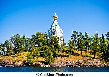 Valaam - View to Saint Nicholas Skete in Valaam, Russia