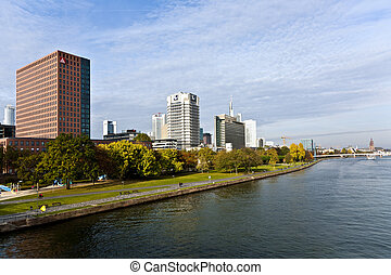 view to skyline of Frankfurt from Friedensbruecke over river Main in the afternoon on September 10,2009 Frankfurt,Germany