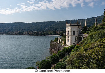 View to Stresa embankment from park on the island of Isola Bella. Lake Maggiore, Northern Italy