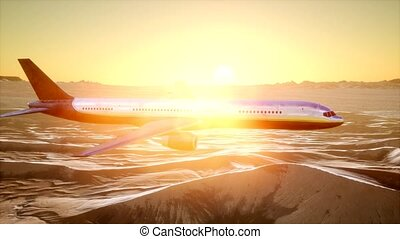 view to the airplane over the desert