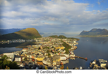 View to the Alesund city on the Sunset in summer day.