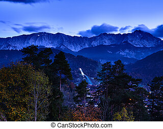 View to the alps in Garmisch-Partenkirchen at night
