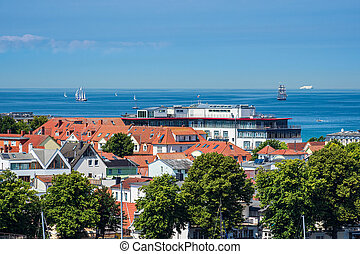 View to the Baltic Sea coast in Warnemuende, Germany
