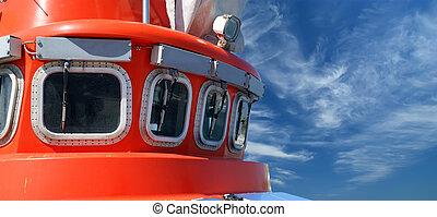View to the captain bridge on ship