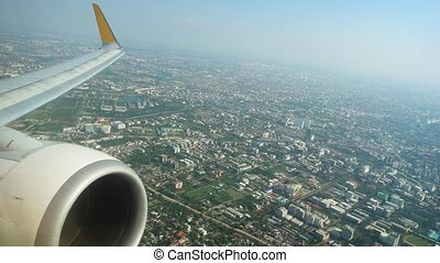 View to the city from the airplane window