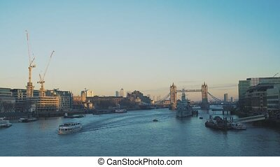 View to the City of London and Tower Bridge.