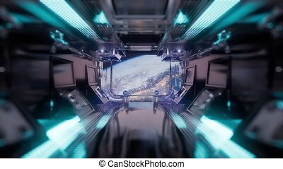 view to the Earth from spaceship tunnel