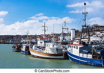 View to the Fishery port in Sassnitz, Germany.