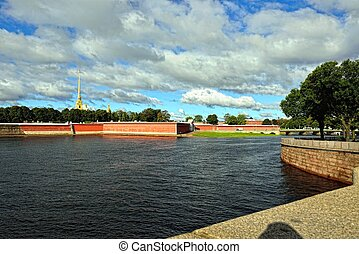 View to the Fortness of St. Peter and Pavel from the river ...