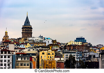 view to the Galata tower and buildings around it