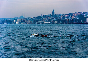 view to the Galata tower from the sea