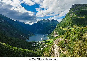 View to the Geirangerfjord in Norway