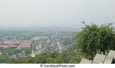 View to the Kathmandu city from the ancient Sawayambhunath ...