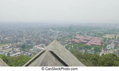 View to the Kathmandu city from the ancient Sawayambhunath...