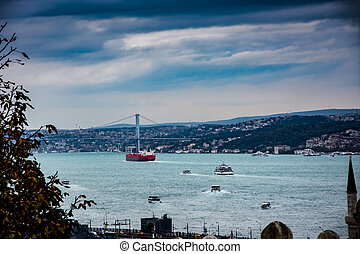 view to the port and the bridge of Bosphorous Istanbul