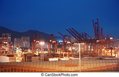 View to the port at night