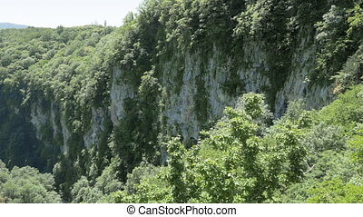 View to the rocks of the deep gorge. Okatse Canyon, near Kutaisi, Georgia