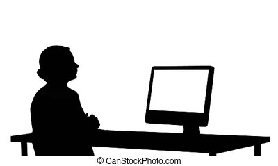Silhouette Business video call, businesswoman having...
